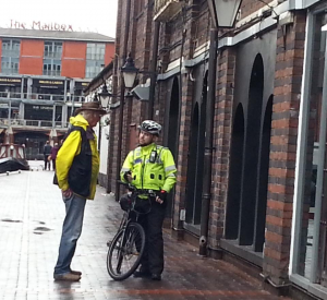 Waterways Chaplain talking to a cyclist in Birmingham