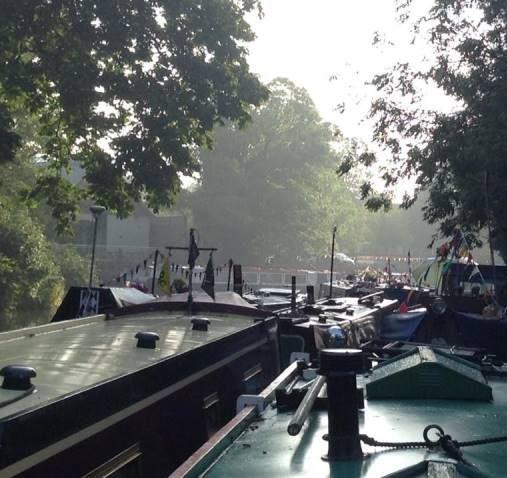 Morning across boats at Ware