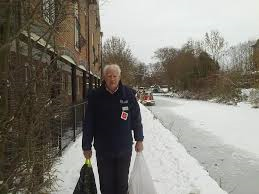 Chaplain bringing help in snow