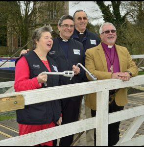 Waterways Chaplains Mike and Alison Saunders being licensed by the Bishop Of Reading