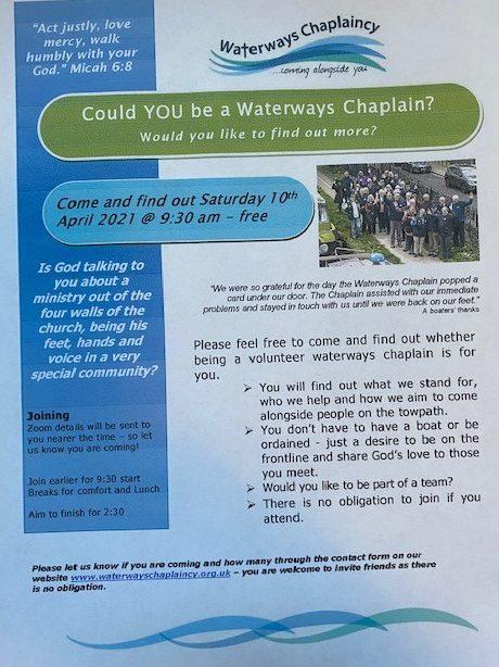 Waterways Chaplaincy Information Half Day Saturday April 10th