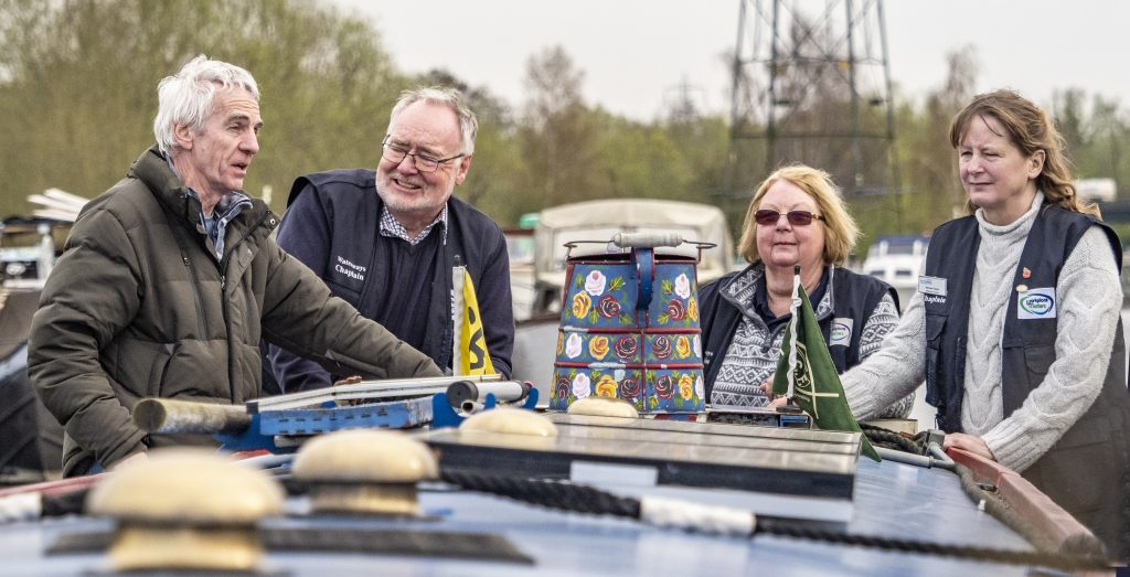 Waterways Chaplains on the back of a Narrowboat.